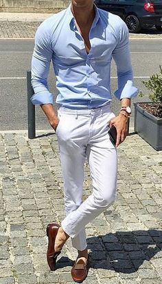 34 New Ideas For Wedding Summer Outfit Men White Pants 34 New Ideas For Wedding Summer Outfit Men White Pants You are in the right place about Blazer Outfit with jeans Here we offer you the most beaut White Pants Outfit Mens, Blue Shirt Outfits, White Pants Men, Slacks Outfit, White Slacks, Formal Men Outfit, Formal Outfits, Summer Outfits Men, Outfit Summer