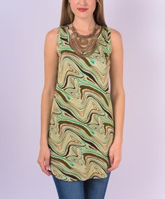 Love this Miss Lily Cream & Green Swirl Tank by Miss Lily on #zulily! #zulilyfinds