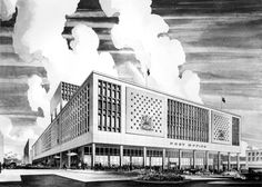 """Sketch of Main Post Office, Vancouver, Canada (c. 1958) """"The opening of the Main Post Office in 1958 marked a new phase in Vancouver's development and growth as a regional centre in the postwar era. Today however, more than 50 years after this complex opened to the public, Canada Post's operations have changed so extensively that a new Regional Mail Handling Facility is under construction near the airport, leaving the future of this fine building in doubt. The federal government plans to…"""