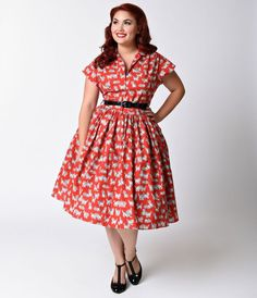 Bernie Dexter Plus Size 1950s Red Kitten Kelly Cap Sleeve Swing Dress