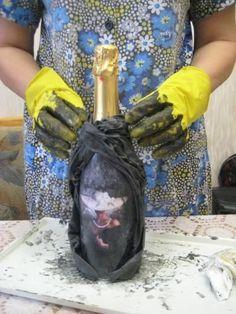 Декупаж бутылок тканью: мастер-класс по декорированию
