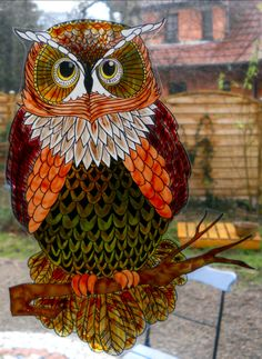 owl wicoart HANDMADE STAINED GLASS EFFECT WINDOW CLING EASY TO APPLY AND TO REMOVE HAND PAINTED WITH GALLERY GLASS AND GLASS PAINT PEBEO ON AN ELECTROSTATIC VINYL SHEET ONE OF A KIND OOAK