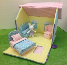 Dollhousehandmade with fabric for travel by ThingsSewLittle