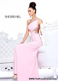 GORGEOUS One Shoulder Pink Prom Dress with an Open Back - Pink Evening Gown - Sherri Hill 2970 - RissyRoos.com