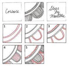 Unme Pattern Steps Zentangle Patterns How Zentangle Drawings, Doodles Zentangles, Zentangle Patterns, Doodle Drawings, Doodle Art, How To Zentangle, Zentangle For Beginners, Zen Doodle Patterns, Tangle Doodle
