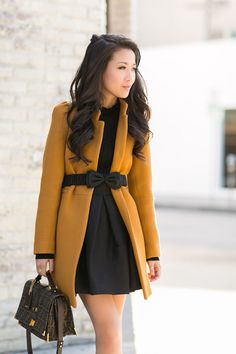 Color Play :: Mustard coat ! That  Zara coat is totally adorbs! I love the shade of yellow it is, and the burberry prorsum bow belt gives your body a nice shape by fitting in the coat!
