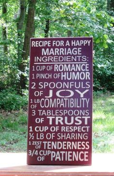 Recipe for a Happy Marriage sign - Primitive Country Painted Wall Sign, Ready to… Wedding Quotes, Wedding Vows, Wedding Gifts, Wedding Ideas, Wedding Things, Wedding Decorations, Happy Together, Happy Marriage, Wall Signs