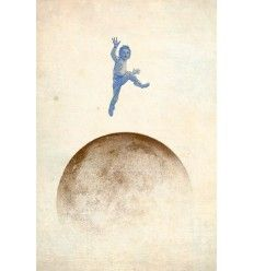 Boy over moon by Jack Paperbag