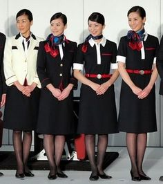JAL female crew who turned sleuth to capture two on the run diamond smugglers on their flight to Kobe from Tokyo. Manager Yuri Yamamoto (far left) recognised the men from a briefing photo and distracted them while her crew searched their luggage and uncovered a hoard of stolen jewels. When confronted, the amazed men simply surrendered to the resourceful stewardesses. The crooks were then securely tied up, while Yuri radioed Tokyo.