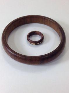 Vintage 18K Gold Wood Ring Bangle Bracelet Hallmarked Milor Italy