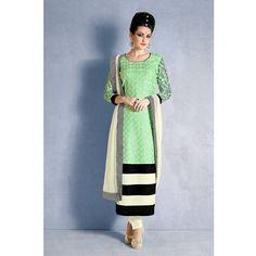 Pure Georgette Designer Nakkashi Sea Green Colored Salwar Kameez