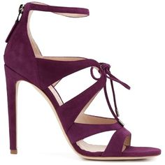 Chloe Gosselin 'Bryonia' tie up sandals (€1.190) ❤ liked on Polyvore featuring shoes, sandals, heels, tie sandals, fuschia shoes, tie shoes, purple shoes and purple heel shoes