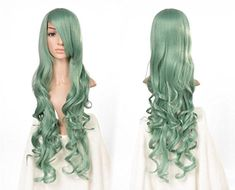 Prettymart Cosplay Wig 80cm Lang Gelockt Cosplay Synthetische Hair Green -- For more information, visit image link.