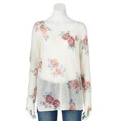 LC Lauren Conrad Floral Print Sweater