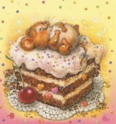 Having your cake & laying all over it in style! Beatrix Potter, Cute Images, Cute Pictures, Susan Wheeler, Mouse Illustration, Marjolein Bastin, Cute Mouse, Whimsical Art, Cute Cartoon