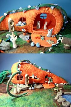 felt play set: carrot house with hand-stitched little bunnies - inspiration for probably a carrot bag with little animals and their stuff inside Felt Crafts, Easter Crafts, Felt Play Mat, Play Mats, Felt House, Waldorf Crafts, Felt Dolls, Paper Dolls, Baby Dolls