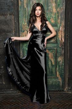 Beautiful and sexy women. in beautiful and sexy clothes and poses Black Satin Dress, Satin Gown, Metallic Dress, Satin Dresses, Sexy Dresses, Satin Sleepwear, Nightwear, Nightgowns For Women, Satin Lingerie