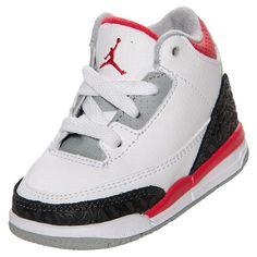 Boys' Toddler Air Jordan Retro 3 Basketball Shoes| FinishLine.com | White/Fire Red/Neutral Grey/Black