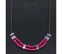 Necklace With Metallic Magenta Beads, $32.75 Contains upcycled chain and findings.