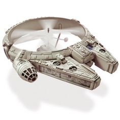 Remote Controlled Millennium Falcon: Flies forwards, backwards and sideways from up to 30' with the remote control which enables precise rotor tuning for stable, level flights. $59.95. I want all things Star Wars! >:0