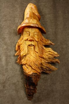 Wood Spirit Wood Carving Unique Christmas by TreeWizWoodCarvings, $155.00
