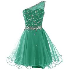 Dresstells Short One Shoulder Prom Dresses Tulle Homecoming Dress with... ($70) ❤ liked on Polyvore featuring dresses, green homecoming dresses, short homecoming dresses, short green dress, short cocktail dresses and green dress