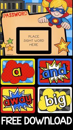 These superhero themed Dolch and Fry sample sight words can be placed in a high traffic area (such as your door or hand washing area) to have your students frequently review them throughout the day.