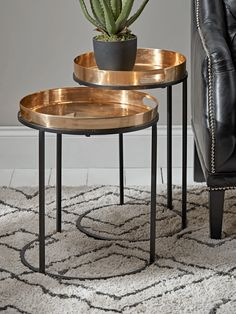 Two Brass Topped Nesting Tables - Side Tables - Tables - Furniture Small Round Side Table, Modern Side Table, Small Tables, Side Tables, Loft Furniture, Living Furniture, Table Furniture, Furniture Design, Side Table With Storage