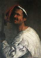 Singer with Recorder, oil on canvas, 102 × 73 cm, imitator of Giorgione (17th century). Rome: Galleria Borghese, Inv. 130. Ref. Anthony Rowland-Jones (pers. comm., 2002). A half-length of a singer holding a tenor recorder in his left hand, upright (the instrument runs vertically down the left side of the painting). You can only see as far as the fifth finger-hole as the rest of the instrument is hidden by the singer's hand and sleeve across the bottom of the picture, but the beaked…