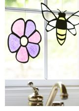 Faux stained glass made out of tissue paper and card stock, for kids or grown ups.
