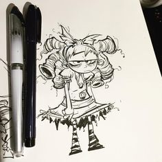 Sketchbook doodle, testing out Gert with different tools. Looking for a bit more control and more feeling of drawing while inking. Zebra brush pen.