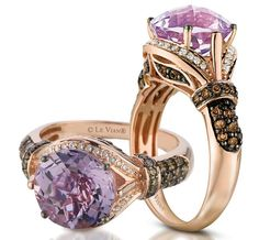 I love the chocolate diamonds w the rose gold ring but I'd add a off white diamond instead of the purple