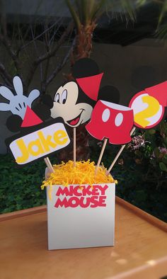 Mickey Mouse Clubhouse centerpiece by uniqueboutiquebygami on Etsy, $19.50