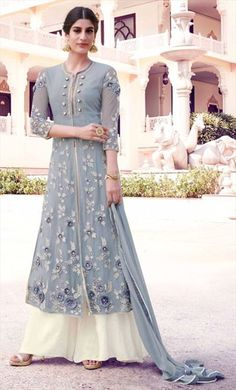 477768 Black and Grey  color family Party Wear Salwar Kameez in Net fabric with Machine Embroidery,Thread work .