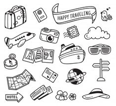 travel themed doodle isolated on white background Bullet Journal Art, Bullet Journal Ideas Pages, Bullet Journal Inspiration, Doodle Drawings, Doodle Art, Doodle On Photo, Travel Doodles, Travel Drawing, Cute Doodles