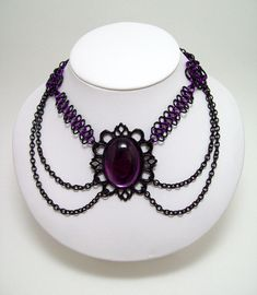 chainmaille necklace, choker. Gothic jewelry, goth, fae, costume, dark fairy tales.