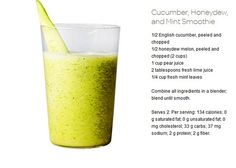 Cucumber, Honeydew, and Mint Detox Smoothie. i don't think the pear juice is a good idea, would make it way too sweet. Mint Smoothie, Detox Smoothie Recipes, Smoothie Drinks, Detox Drinks, Healthy Smoothies, Healthy Drinks, Healthy Tips, Healthy Snacks, Skinny Recipes