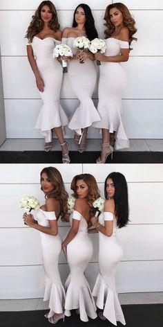 Wonderful Perfect Wedding Dress For The Bride Ideas. Ineffable Perfect Wedding Dress For The Bride Ideas. Asymmetrical Bridesmaid Dress, White Bridesmaid Dresses Long, Mermaid Bridesmaid Dresses, Mermaid Dresses, Wedding Bridesmaids, Long Dresses, Bridesmaid Outfit, Dress Long, Prom Dress