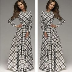 Elegant Long Sleeve Plaid Maxi Dress – Daisy Dress For Less