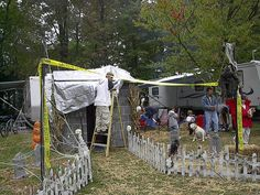 Scary Halloween decorations at the RV campground. photo by sully 213 camping, wreaths, bestfriend ideas, halloween The post An RVer& Guide To Spooky Halloween Fun At Your Campsite appeared first on Dekoration. Campsite Decorating, Decorating Your Rv, Decorating Ideas, Camper Decorating, Spooky Halloween, Halloween Crafts, Halloween Wreaths, Halloween Ideas, Halloween Party