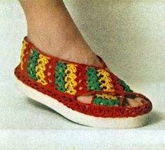 Beach Sandal crochet pattern from Cottons You'll Love, originally published by Coats & Clark's O.N.T., Book No. 313, from 1955.