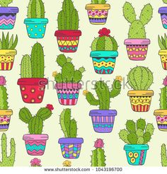 Hand Drawn Seamless Pattern Illustration Cactus,Ladies Full Zip Fleece with Pocket Succulent Plant S