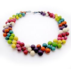 Striped Necklace, Beaded Necklace, colorful choker, silver clasp, Asai Necklace, Chunky Bead Necklace, Mexican Necklace