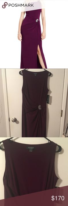Lauren by Ralph Lauren Evening Dress ⭐️Brand New⭐️ Lauren by Ralph Lauren Evening Dress. Jersey material with side ruching clasped by a broach. The ruching gives a very flattering effect. The slit hits a few inches above the knee for the right amount of leg and class. Perfect for an evening event, prom or wedding. The color is a deep purple marsala color. NEW WITH TAGS!! Lauren Ralph Lauren Dresses