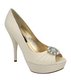 25e63c13feb1 Nina Stasy Ivory Wedding Heels - pleated satin pump is adorned with a  sparkling crystal rhinestone ornament broach
