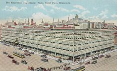 Emporium Department Store  I understand from a local postcard collector and historian that this image was 'created' for the postcard and was not a possible view.  If you look at the image of Robert Street above, you will notice that the Emporium was located among many buildings on Robert Street and did not encompass this massive open space as this image indicates.