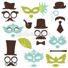 Baixar - Kit festa retrô - óculos, chapéus, lábios, bigodes, máscaras - para de — Ilustração de Stock #17890551