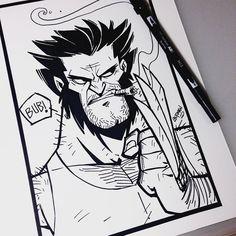#inktober Day 17 - Logan #ink #tombow #sketch #inktober2015 #xmen #marvel #wolverine #logan #bub by dereklaufman
