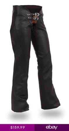 b8c911374914 First MFG Womens Double Belted Black Leather Chaps Motorcycle Riding  FIL745CSL