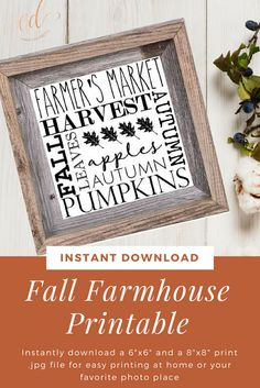 Decorate your farmhouse fixer upper home for fall with this pretty and modern subway art. This print features farmhouse-themed words in modern fonts that will compliment any room in your home. Fall Farmhouse Print | Autumn Typography | Digital Fall Prints | Farmhouse Wall Decor | Harvest Fall Prints | Farmhouse Subway Art